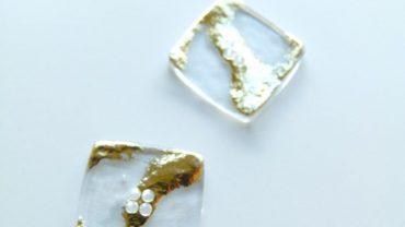 Botón Cuadrado Glitter Oro
