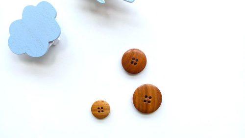 Botón Liso Madera 4 Agujeros